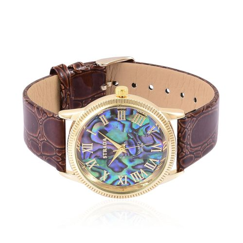 STRADA Abalone Shell Dial Japanese Movement Gold Tone Watch