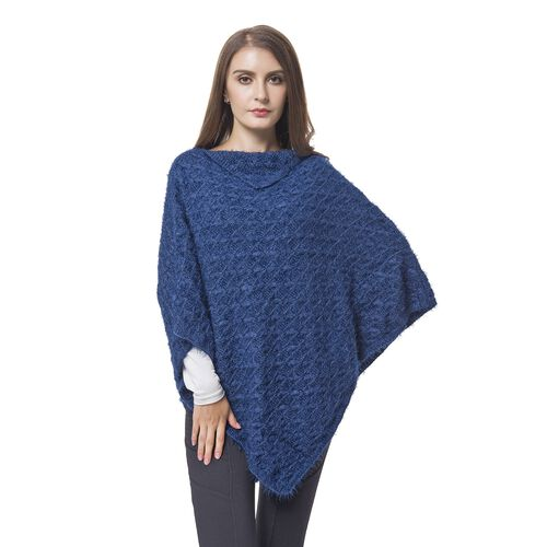 Designer Inspired Knitted Navy Flap Collar Cape (One Size)