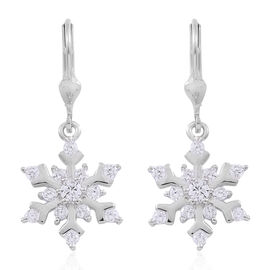 ELANZA AAA Simulated White Diamond (Rnd) Starburst Lever Back Earrings in Rhodium Plated Sterling Silver, Silver wt 4.00 Gms.