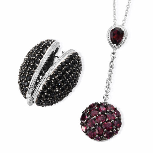 GP Boi Ploi Black Spinel (Rnd), Rhodolite Garnet and Kanchanaburi Blue Sapphire Locket Pendant With Chain in Platinum Overlay Sterling Silver 14.750 Ct. Silver wt. 14.62 Gms. Number of Gemstones 233