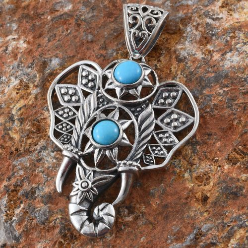 Hand Made - AAA Arizona Sleeping Beauty Turquoise (Rnd) Elephant Head Pendant in Sterling Silver 1.610 Ct.