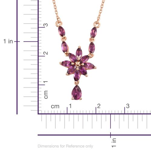 Rare Mozambique Grape Colour Garnet (Pear 0.50 Ct) Floral Necklace (Size 18) in Rose Gold Overlay Sterling Silver 2.500 Ct.