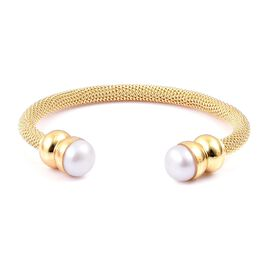 Super Auction-Designer Inspired Fresh Water White Pearl (11mm) Torque Mesh Bangle (Size 7.5) Gold Plated