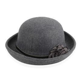 Designer Inspired-Grey Colour Flower Adorned Hat (Size 16 Cm)