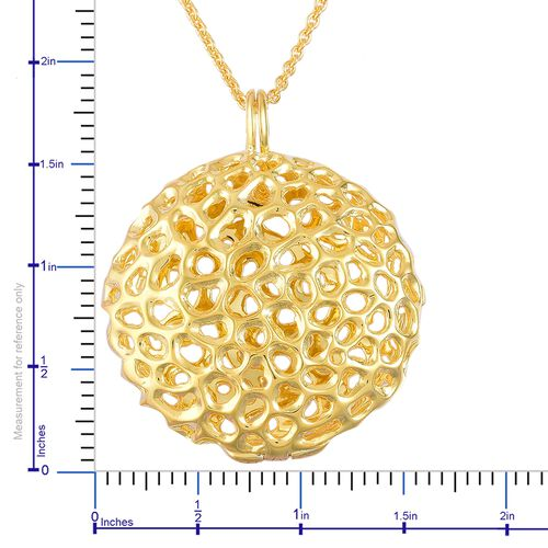 RACHEL GALLEY Yellow Gold Overlay Sterling Silver Disc Locket Pendant with Chain (Size 30), Silver wt 20.69 Gms.