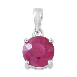 9K White Gold 1 Ct AA Burmese Ruby Solitaire Pendant