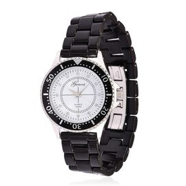 GENOA Black Ceramic Silver Tone Japanese Movement, Water Resistant Watch Studded with Austrian Crystals