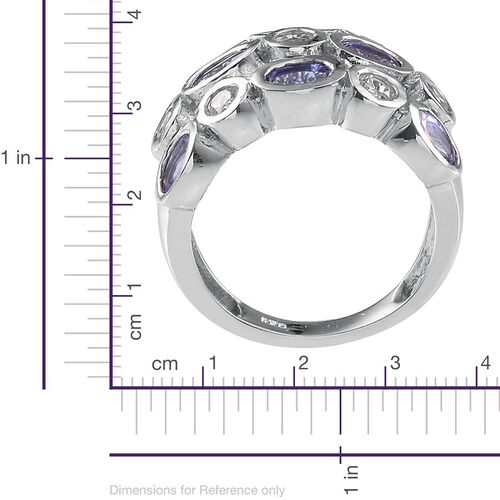 Tanzanite (Ovl), White Topaz Ring in Platinum Overlay Sterling Silver 2.750 Ct.