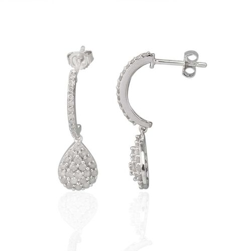 9K W Gold GSI Certified Diamond (Rnd) (I3 / G-H) J Hoop Earrings (with Push Back) 1.000 Ct.