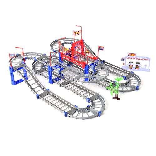 Multi Colour Tracks with Loop & Battery Opperated Car (73 Piece Set-Tracks, Bridges & Tower)