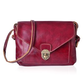 Burgundy Colour Crossbody Bag with Shoulder Strap (Size 22x18.5x4 Cm)