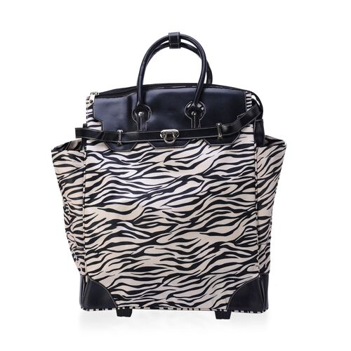 Zebra Pattern White and Cream Colour Travel Bag with Two Wheels on Bottom (Size 50x40x24 Cm)