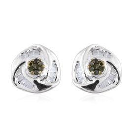 Green Diamond (Rnd), White Diamond Love Knot Stud Earrings (with Push Back) in Platinum Overlay Sterling Silver 0.150 Ct.
