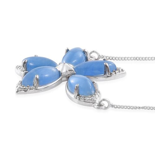 Blue Jade (Mrq) Floral Necklace (Size 18) in Platinum Overlay Sterling Silver 6.750 Ct.