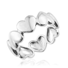 Designer Inspired-Platinum Overlay Sterling Silver Heart Band Ring, Silver wt 3.05 Gms.