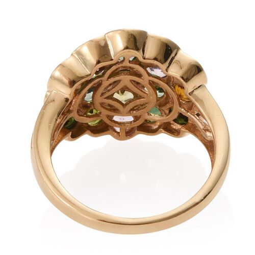 Multi-Tourmaline (4.50 Ct) 14K Gold Overlay Sterling Silver Ring  4.500  Ct.