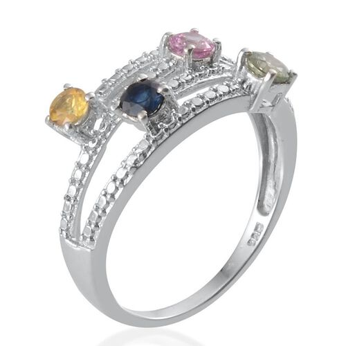 Green Sapphire (Rnd), Kanchanaburi Blue Sapphire, Yellow Sapphire and Pink Sapphire Ring in Platinum Overlay Sterling Silver 0.900 Ct.