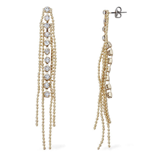 White Austrian Crystal Necklace (Size 20 with 2 Inch Extender) and Earrings (with Push Back) in Gold Tone