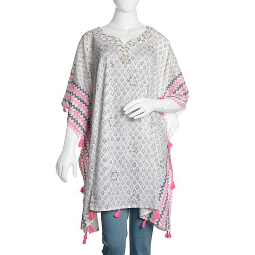 New Season-100% Cotton Grey, Pink and White Colour Hand Block Zigzag Printed Kaftan with Tassels (Free Size)