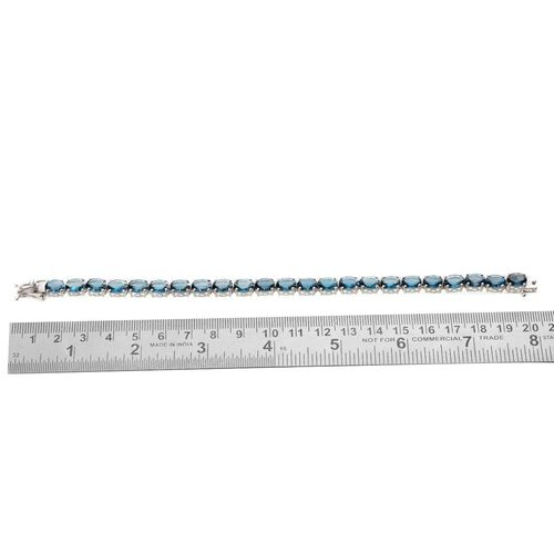 London Blue Topaz (Ovl) Bracelet in Platinum Overlay Sterling Silver (Size 7.5) 31.750 Ct.