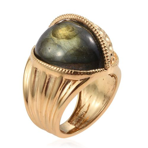 GP Labradorite and Kanchanaburi Blue Sapphire Ring in 14K Gold Overlay Sterling Silver 13.020 Ct.