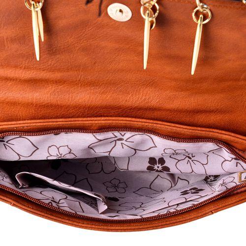 Chocolate Colour Clutch Bag with Adjustable Shoulder Strap (Size 30x20 Cm)