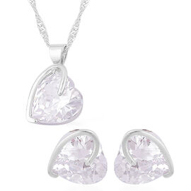Designer Inspired - AAA Simulated Diamond Heart Design Pendant With Chain (Size 18 with 1.5 inch Extender) and Hook Earrings Silver Plated