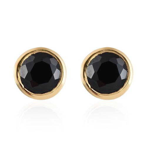 1.25 Carat Boi Ploi Black Spinel Solitaire Stud Earrings in Gold Plated 925S Silver (with Push Back)