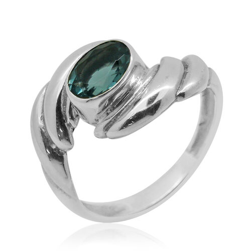 Royal Bali Collection Blue Fluorite (Ovl) Solitaire Ring in Sterling Silver 1.580 Ct.
