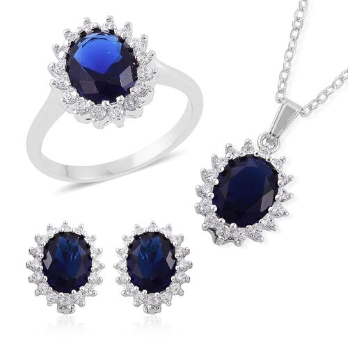 AAA Simulated Blue Sapphire and Simulated White Diamond Ring, Pendant With Chain (Size 22) and Stud Earrings (with Clasp) in Silver Tone