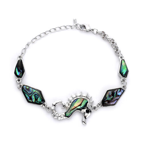 Abalone Shell, White Austrian Crystal Seahorse Bracelet in Silver Tone (Size 7.5) (with 1 inch Extender)