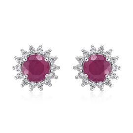 9K White Gold 3.25 Ct AAA African Ruby Halo Stud Earrings (with Push Back) with Natural Cambodian Zircon