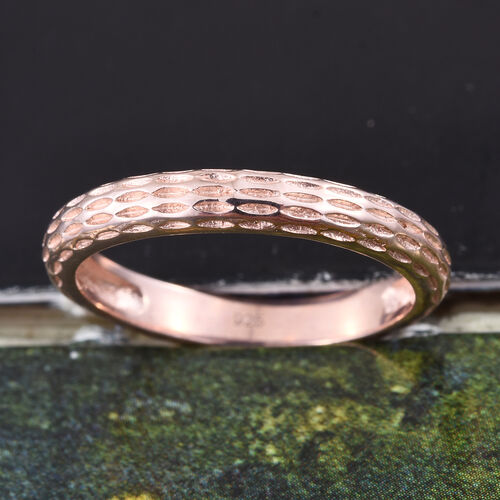 Rose Gold Overlay Sterling Silver Band Ring, Silver wt. 2.19 Gms.