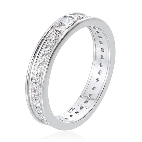 J Francis - Platinum Overlay Sterling Silver (Rnd) Full Eternity Band Ring Made with SWAROVSKI ZIRCONIA