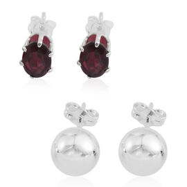 Set of 2 - Indian Garnet and Ball Stud Earrings (with Push Back) in Sterling Silver 2.000 Ct.