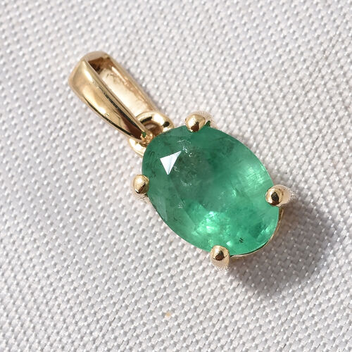 0.60 Ct AAA Kagem Zambian Emerald Solitaire Pendant in 9K Gold