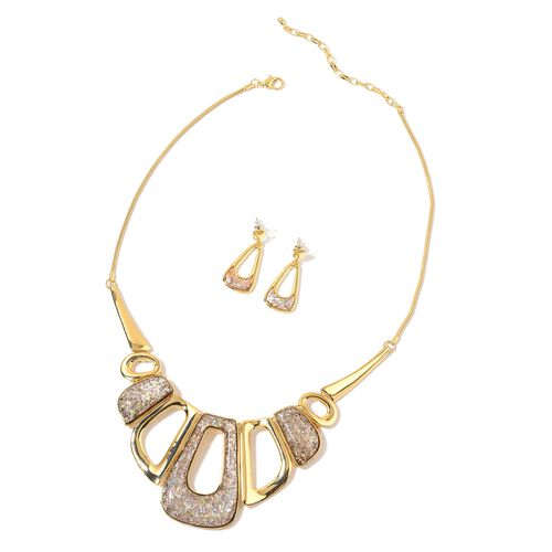 Simulated Multi Colour Stone BIB Necklace (Size 20) and Earrings (with Push Back) in Yellow Gold Tone