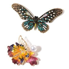 Set of 2 - Simulated White Pearl and Multi Colour Austrian Crystal Butterfly and Floral Brooch or Pendant in Yellow Gold Tone