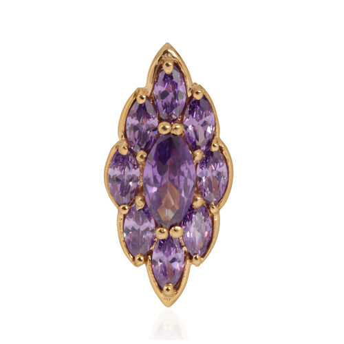ELANZA AAA Simulated Tanzanite (Mrq) Pendant in 14K Gold Overlay Sterling Silver