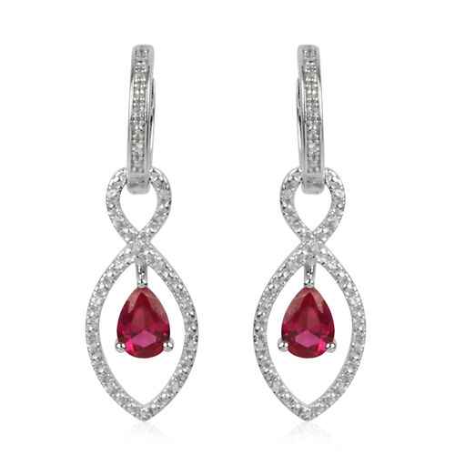 Simulated Ruby and Simulated White Sapphire Earrings (with Clasp Lock) in Rhodium Plated Sterling Silver