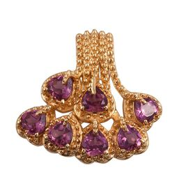 Rare Rhodolite Garnet (Hrt) Cluster Pendant in ION Plated 18K Yellow Gold Bond 2.250 Ct.