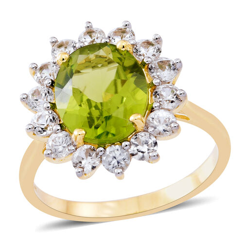 9K Y Gold AAAA Rare Size Hebei Peridot (Ovl 4.75 Ct), Natural Cambodian Zircon Ring 6.250 Ct. Gold Wt 3.60 Gms