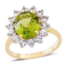 9K Yellow Gold AAAA Rare Size Hebei Peridot (Ovl 4.75 Ct), Natural Cambodian Zircon Ring 6.250 Ct. Gold Wt 3.60 Gms