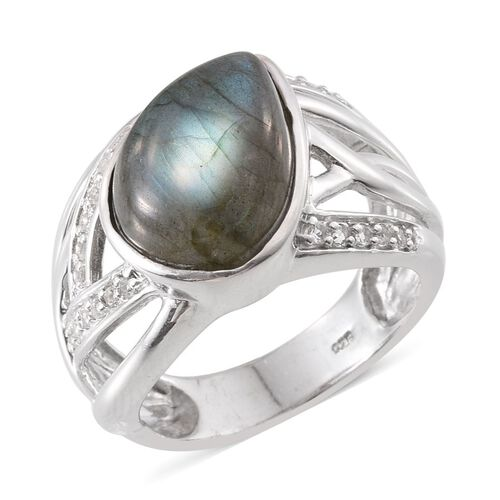 Labradorite (Pear 8.00 Ct), White Topaz Ring in Platinum Overlay Sterling Silver 8.500 Ct.
