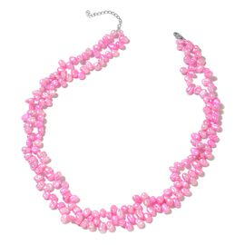 Pink Keshi Pearl Necklace (Size 18 with 1 inch Extender) in Rhodium Plated Sterling Silver