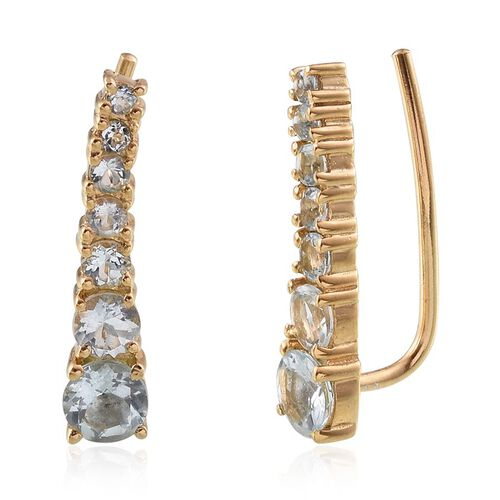 Espirito Santo Aquamarine (Rnd) Climber Earrings in 14K Gold Overlay Sterling Silver 1.750 Ct.