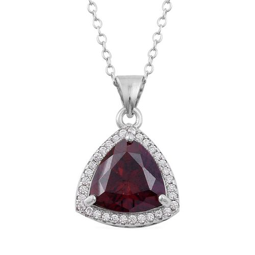 ELANZA AAA Simulated Garnet and Simulated White Diamond Pendant With Chain in Rhodium Plated Sterling Silver