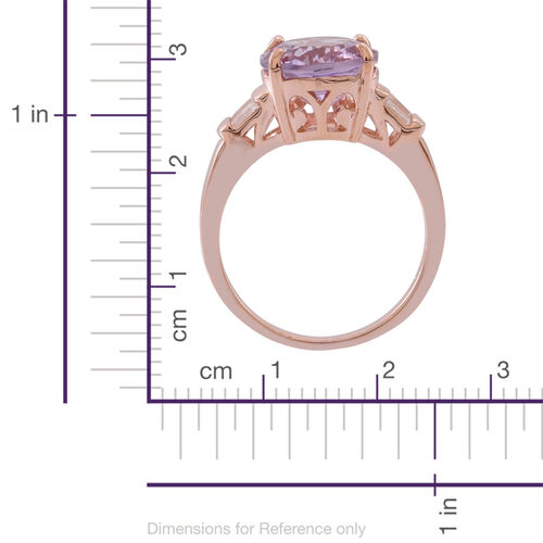 Rose De France Amethyst (Ovl 4.00 Ct), White Topaz Ring in Rose Gold Overlay Sterling Silver 5.000 Ct.