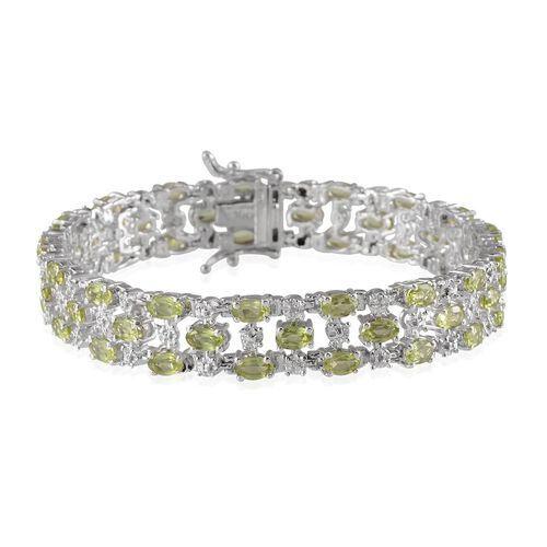 AA Hebei Peridot (Ovl), Diamond Bracelet in Platinum Overlay Sterling Silver (Size 7.5) 11.770 Ct.