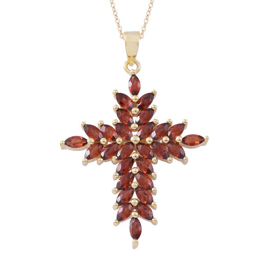 Mozambique Garnet (Mrq) Cross Pendant With Chain in 14K Gold Overlay Sterling Silver 3.000 Ct.